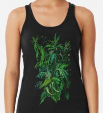 Green and Black, summer greenery, floral art, pastel drawing Women's Tank Top