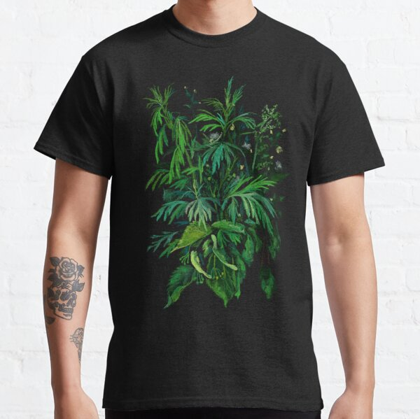 Green and Black, Summer Greenery, Colorful Floral  Classic T-Shirt