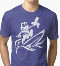 Black and White Cartoon Frog Surfing - Surfing Gifts Tri-blend T-Shirt