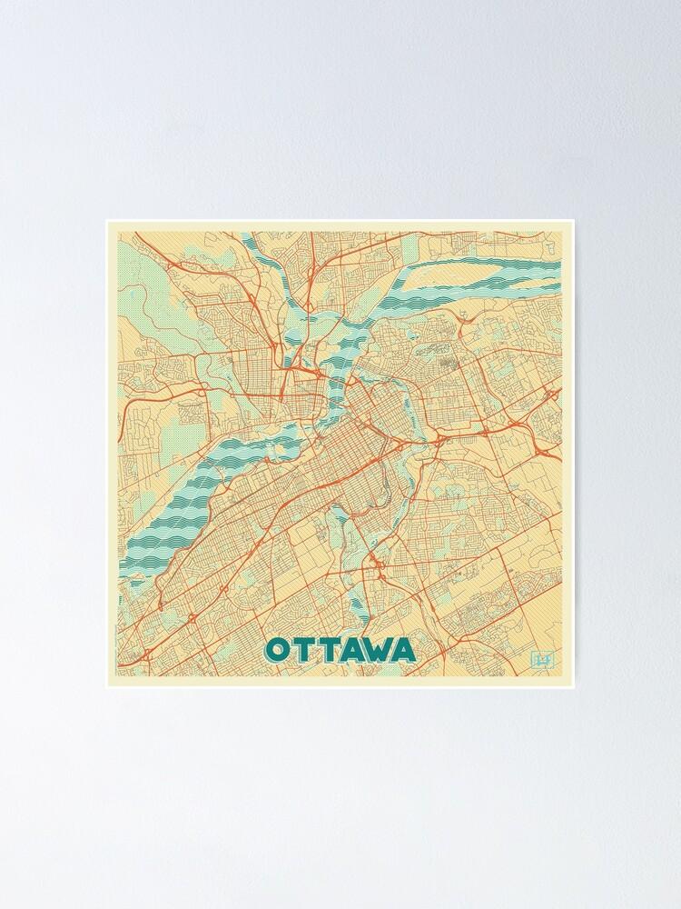 Alternate view of Ottawa Map Retro Poster