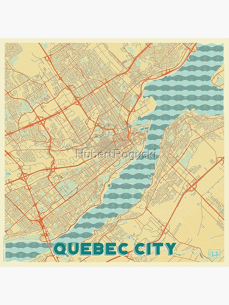 Quebec City Map Retro by HubertRoguski