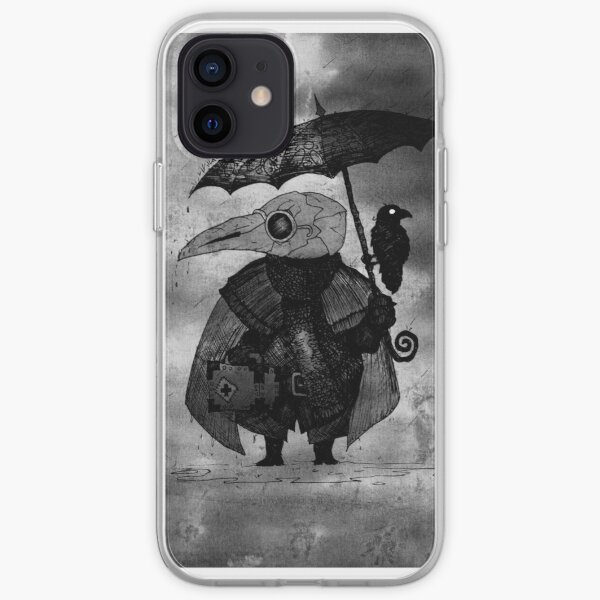 Plague Doctor & Crow in the Rain iPhone Soft Case