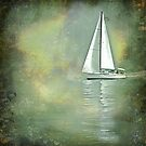 sailing boat fantasy on grunge background by gameover