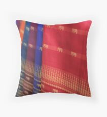 Skirts at Central Market - Phnom Pehn, Cambodia Throw Pillow