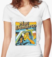 mac demarco in his car Women's Fitted V-Neck T-Shirt