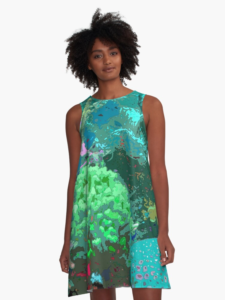 Coral Reef Anacapa Blue A-Line Dress Front