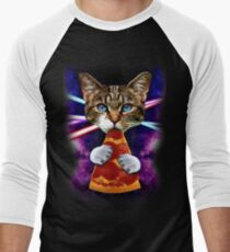 Cat Galaxy Pizza Eating Food Fan Space Cosmos Crazy Hungry Kitty Men's Baseball ¾ T-Shirt