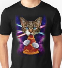 Cat Galaxy Pizza Eating Food Fan Space Cosmos Crazy Hungry Kitty T-Shirt