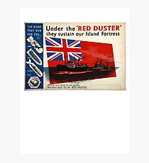 WAR POSTER, Red Duster, Red Ensign, UK, GB, Royal Merchant Navy, WWII, Poster Photographic Print