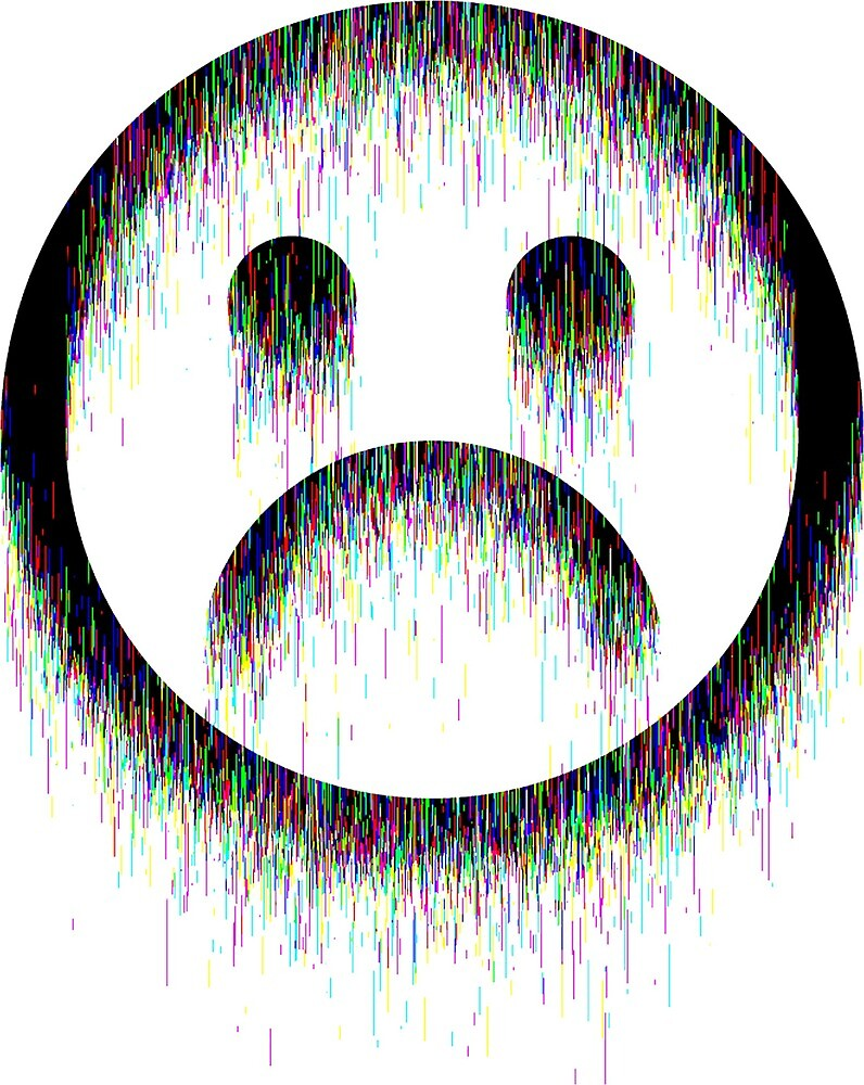 Sad Glitch Smiley by Marcus Rasmussen