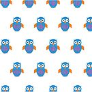 Blue & Orange Owl (Pattern) by Adam Santana