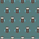 Brown & Blue Owl (Pattern 2) by Adam Santana