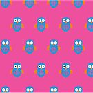 Blue & Orange Owl (Pattern 2) by Adam Santana