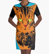 CAT POP ART BLUE Graphic T-Shirt Dress