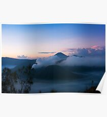 White smoke out of volcanoes surrounded by mist. Poster