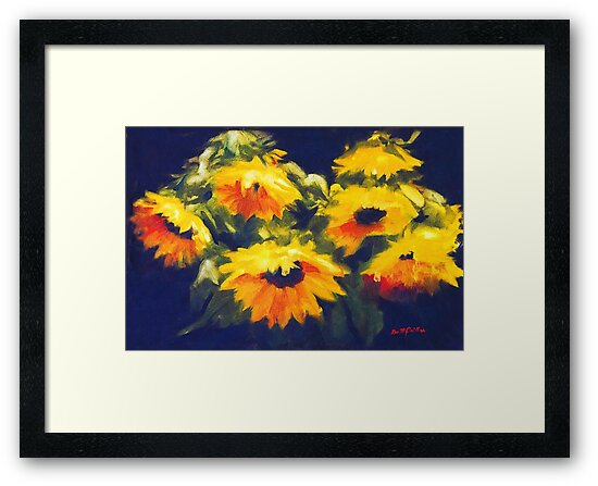 Sunflowers - oil painting on linen by Roz McQuillan