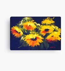 Sunflowers - oil painting on linen Canvas Print