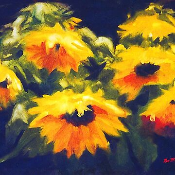 Sunflowers - oil painting on linen by rozmcq