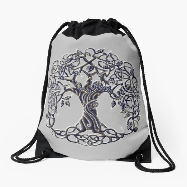 Tree of Life Silver Drawstring Bag
