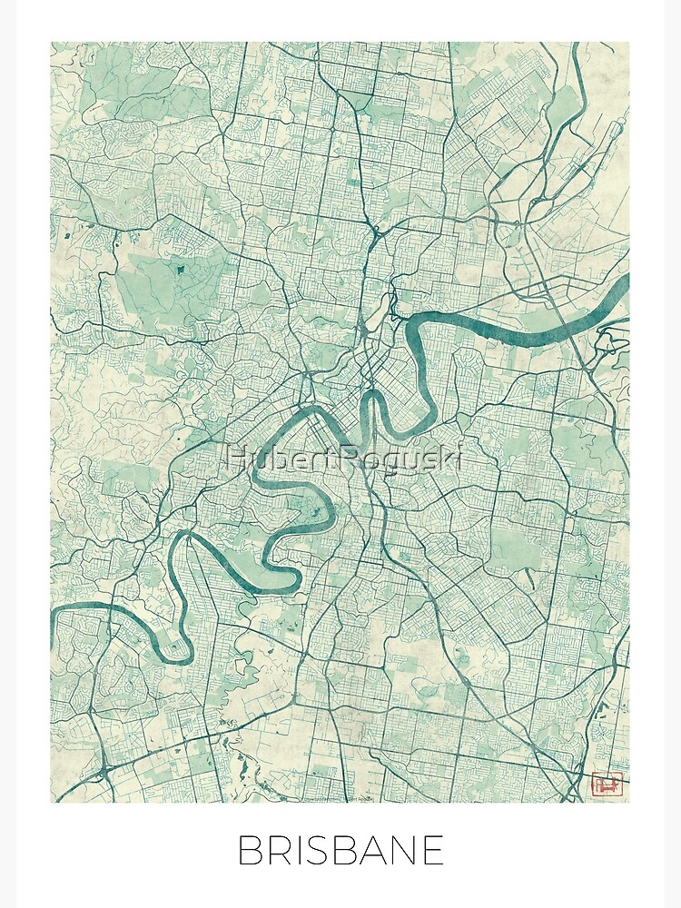 Brisbane Map Blue Vintage by HubertRoguski