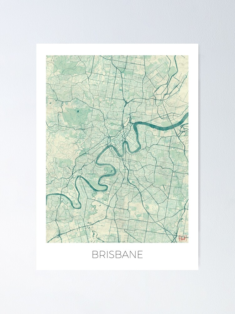 Alternate view of Brisbane Map Blue Vintage Poster