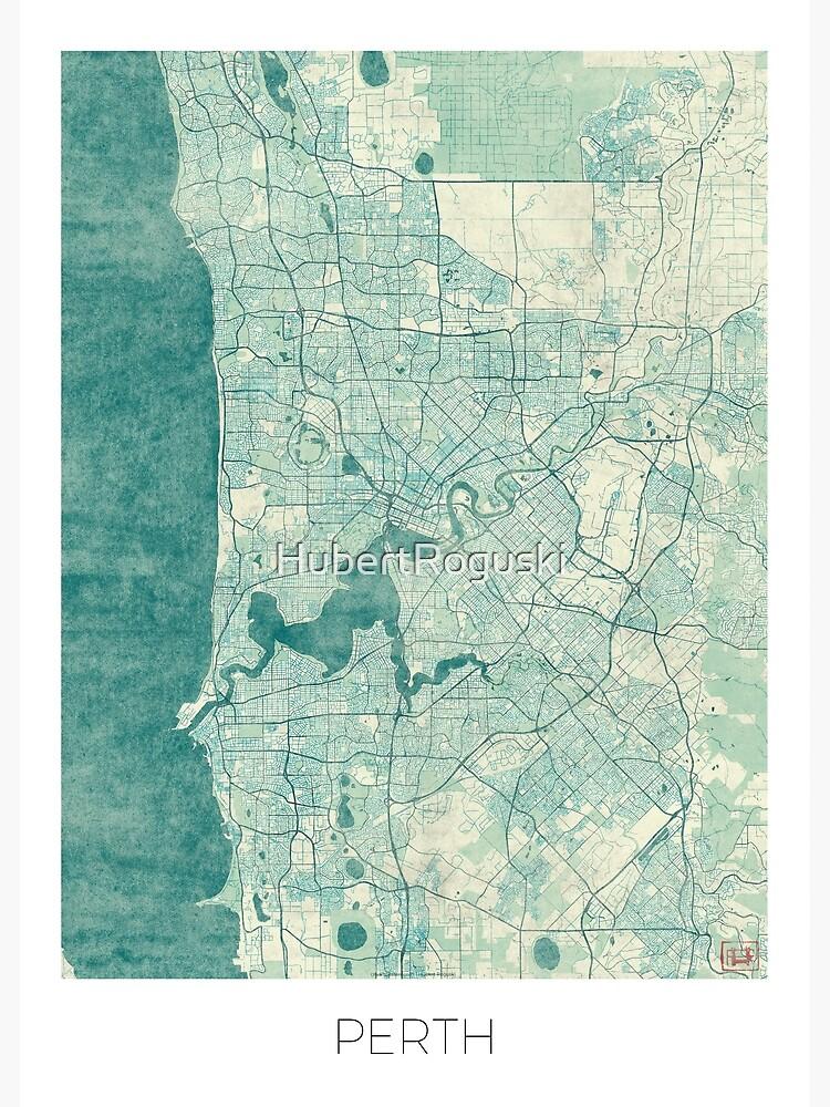 Perth Map Blue Vintage by HubertRoguski