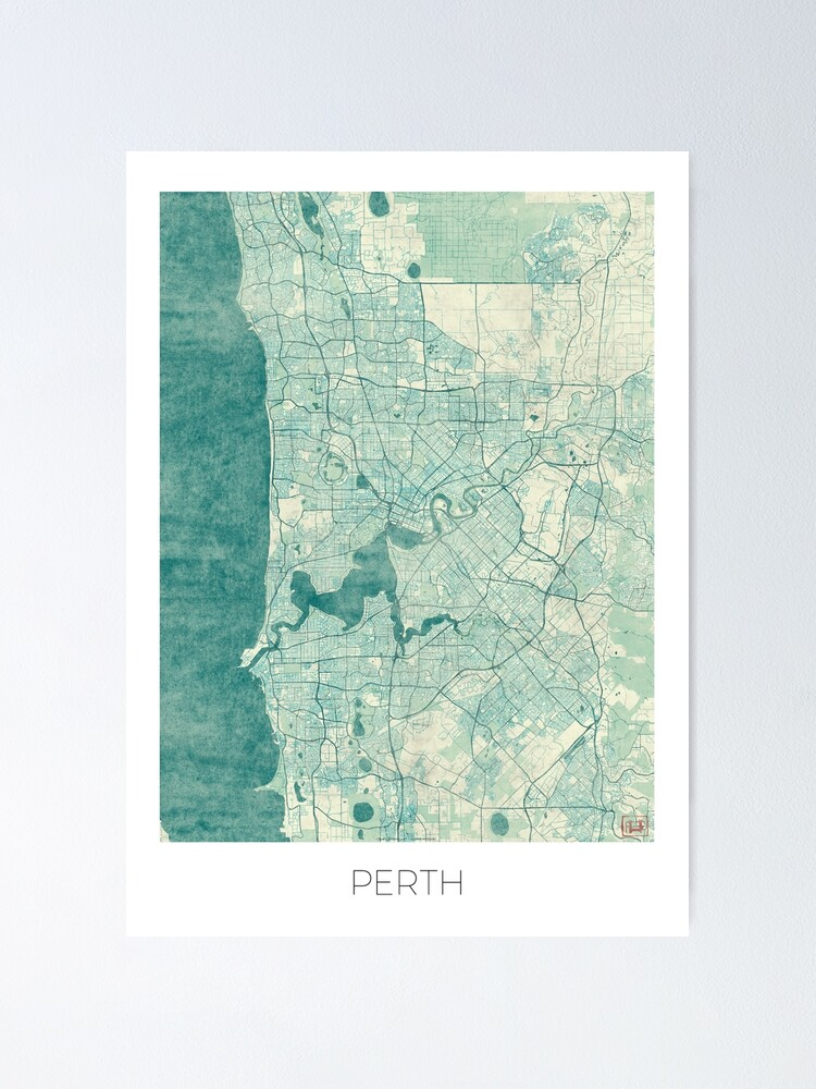 Alternate view of Perth Map Blue Vintage Poster