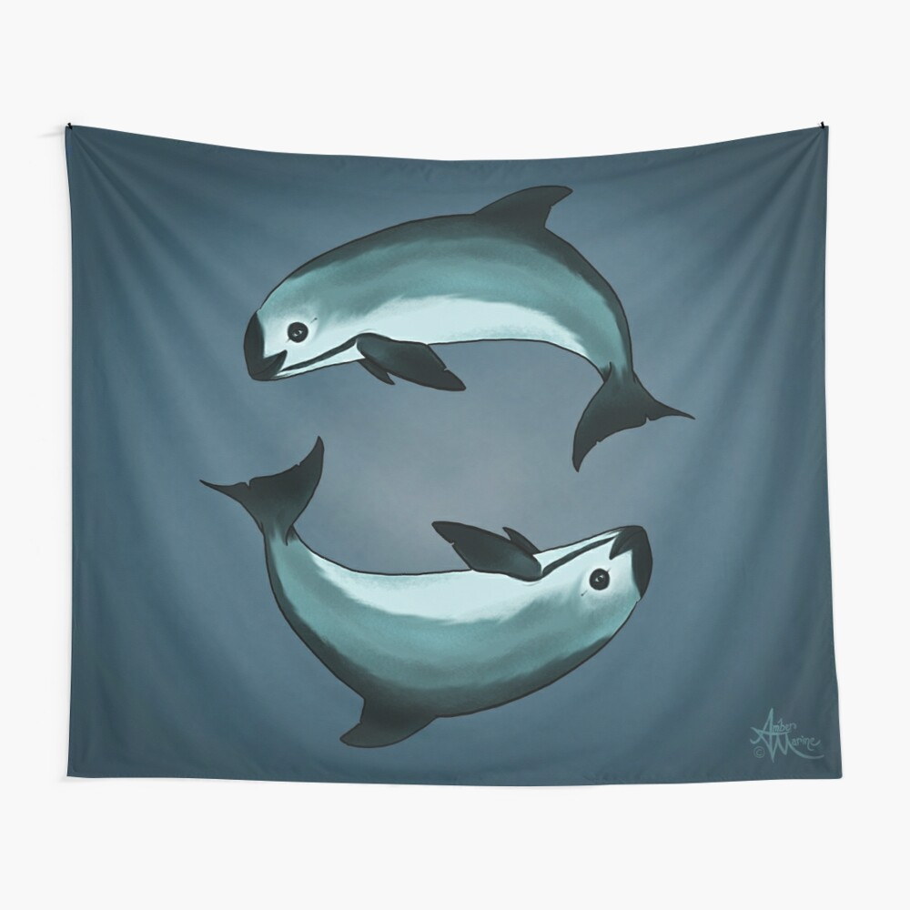 """Spiraling"" vaquita porpoise by artist Amber Marine (Copyright 2015) ~ vaquita art, critically endangered species  Wall Tapestry"