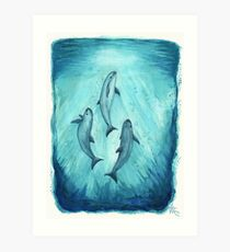 """Song of the Vaquita"" (Porpoise, Critically Endangered Species) watercolor art by Amber Marine, © 2015   Art Print"