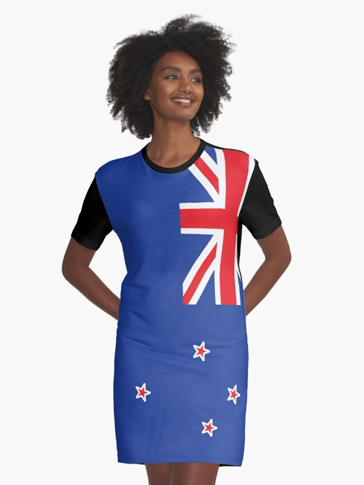 New Zealand Flag Graphic T-Shirt Dress Front