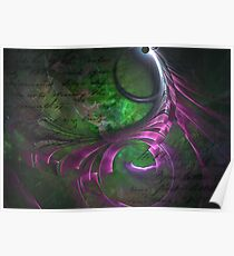 Dark Unique Colorful Cool Fractal Fantasy Abstract Art Design In Green Black Pink And Purple   Poster