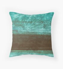 Cool Vintage Retro Style Grunge Distressed Blue And Brown Pastel Tone Abstract Art Design Throw Pillow