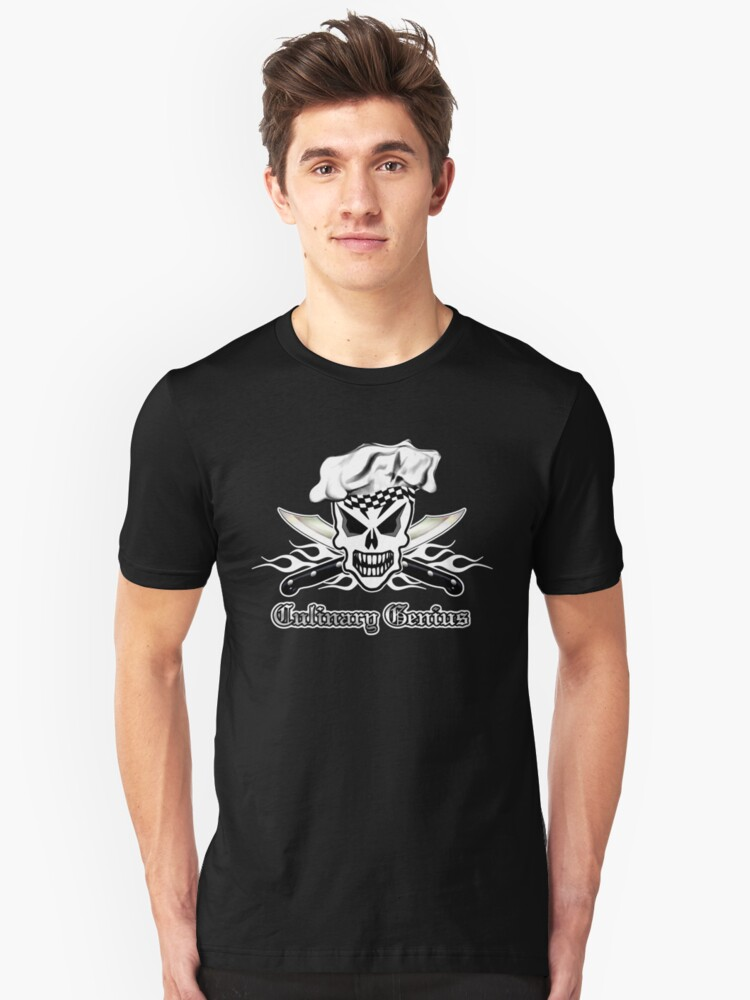 Chef Skull 2: Culinary Genius 3 white flames Unisex T-Shirt Front