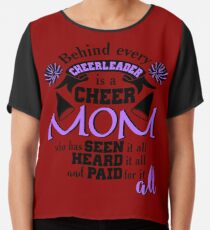 Behind Every Cheerleader Cute Dreaming Fearless Graphic Summer Gift Tshirt Chiffon Top