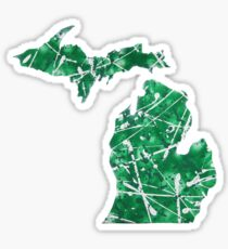 Green and White Michigan Abstract Art Sticker