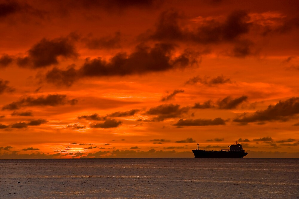 Arubia Sunset and Freighter by Sylmac
