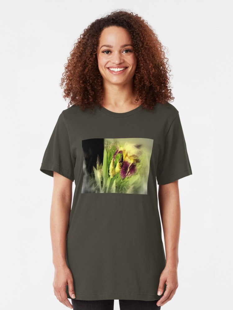 Alternate view of Raindrops on Purple Irises #5 Slim Fit T-Shirt