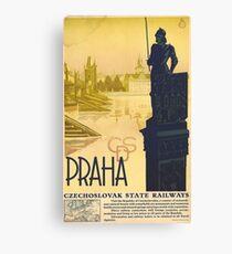 Prague, Czech Republic, vintage travel poster Canvas Print