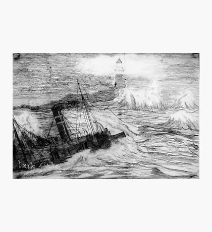 My pencil drawing of Distress at Corbiere Light, Channel Islands Photographic Print