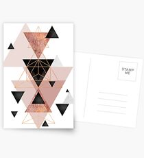 Geometric Triangles in blush and rose gold Postcards
