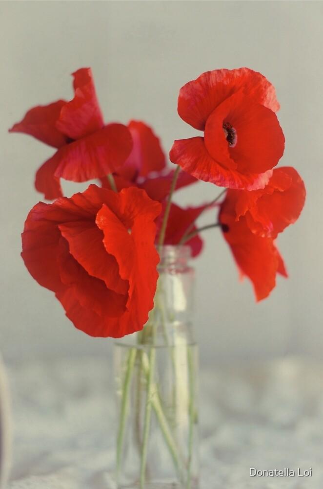 Poppies in glass vase by DonatellaLoi