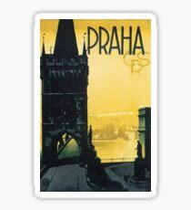 Prague, Czech Republic, vintage, small sticker, mug, phone case Sticker