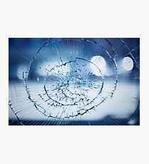 Broken window glass background Photographic Print