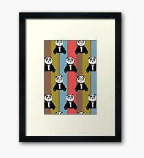 Panda Retro 2 (Pattern) Framed Print
