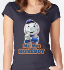 Mr. Met is My Homeboy - Middle Finger Women's Fitted Scoop T-Shirt