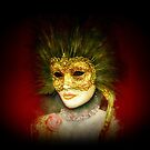 Beautiful vintage golden Venetian mask with rose by gameover