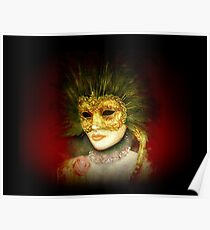 Beautiful vintage golden Venetian mask with rose Poster