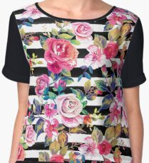 Cute spring floral and stripes watercolor pattern Women's Chiffon Top