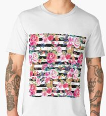 Cute spring floral and stripes watercolor pattern Men's Premium T-Shirt