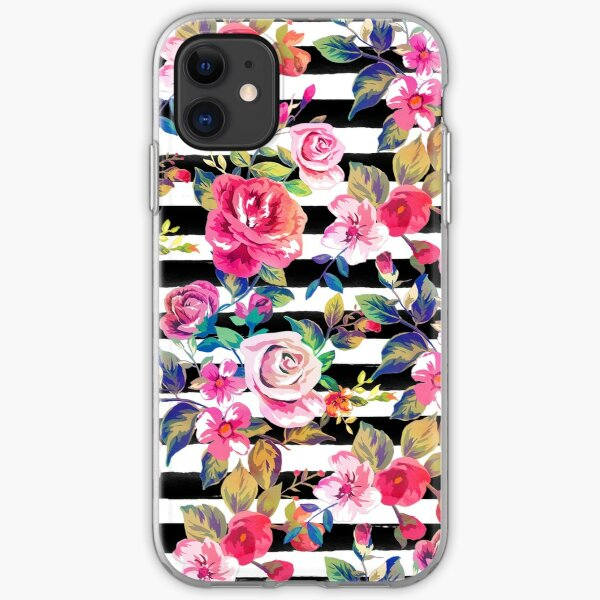 Cute spring floral and stripes watercolor pattern iPhone Soft Case